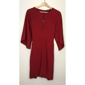 Missguided Womens Red Round Neck Tie Dress Size 12